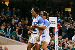 Argentina Outside Centre Matias Moroni celebrates with Fly-Half Nicolas Sanchez after scoring the first try - Mandatory byline: Rogan Thomson/JMP - 07966 386802 - 18/10/2015 - RUGBY UNION - Millennium Stadium - Cardiff, Wales - Ireland v Argentina - Rugby World Cup 2015 Quarter Finals.