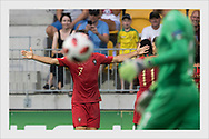 João Filipe celebrates after Portugal's 3-4 winning goal in the 2nd overtime. Italy - Portugal. Under-19 European Championship. Seinäjoki, Finland, July 29, 2018.