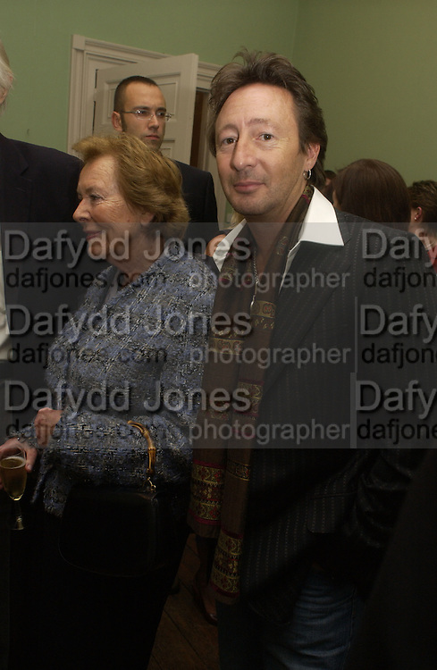 Lady Martin and Julian Lennon, Launch of 'John' by Cynthia Lennon at Six, Fitzroy Sq. London. 27 September 2005. ONE TIME USE ONLY - DO NOT ARCHIVE © Copyright Photograph by Dafydd Jones 66 Stockwell Park Rd. London SW9 0DA Tel 020 7733 0108 www.dafjones.com