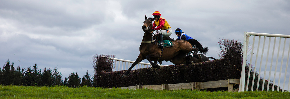 Mosshouses, Lauder, Scottish Borders, UK. 2nd May, 2015. Catchamat and jockey Miss C. Walton take a fence during the Lauderdale Point to Point Open Maiden Race.