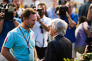 September 18-21, 2014 : Singapore Formula One Grand Prix - Bernie Ecclestone, Christian Horner, team principal of Red Bull Racing