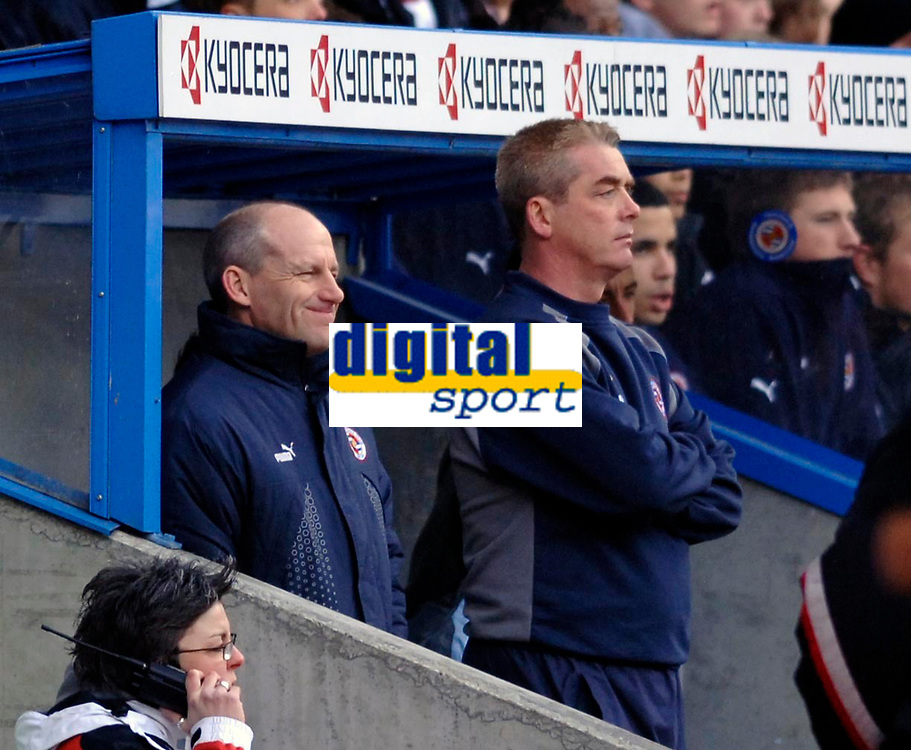 Photo: Daniel Hambury.<br />Reading v Watford. Coca Cola Championship. 11/03/2006.<br />Reading's manager Steve Coppell (L) and assistant Kevin Dillon look on.