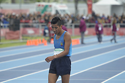 October 11, 2018 - Buenos Aires, Buenos Aires, Argentina - Winner OSCAR PATIN of Ecuador at the end of the Men's 5000m Race Walk Stage 1 on Day 5 of the Buenos Aires 2018 Youth Olympic Games at the Olympic Park. (Credit Image: © Patricio Murphy/ZUMA Wire)