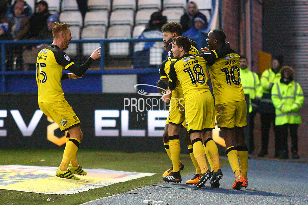 Burton Albion's Tom Flanagan scores and celebrates 1-0 during the EFL Sky Bet Championship match between Sheffield Wednesday and Burton Albion at Hillsborough, Sheffield, England on 1 January 2018. Photo by John Potts.