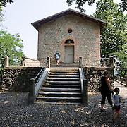 """Santa Maria della Rocchetta del XIV secolo lungo la pista ciclabile dell'Adda in località Cornate...Church of """"Santa Maria della Rocchetta"""" of fourteenth century, near the bicycle path of the Paderno canal, in Cornate locality"""