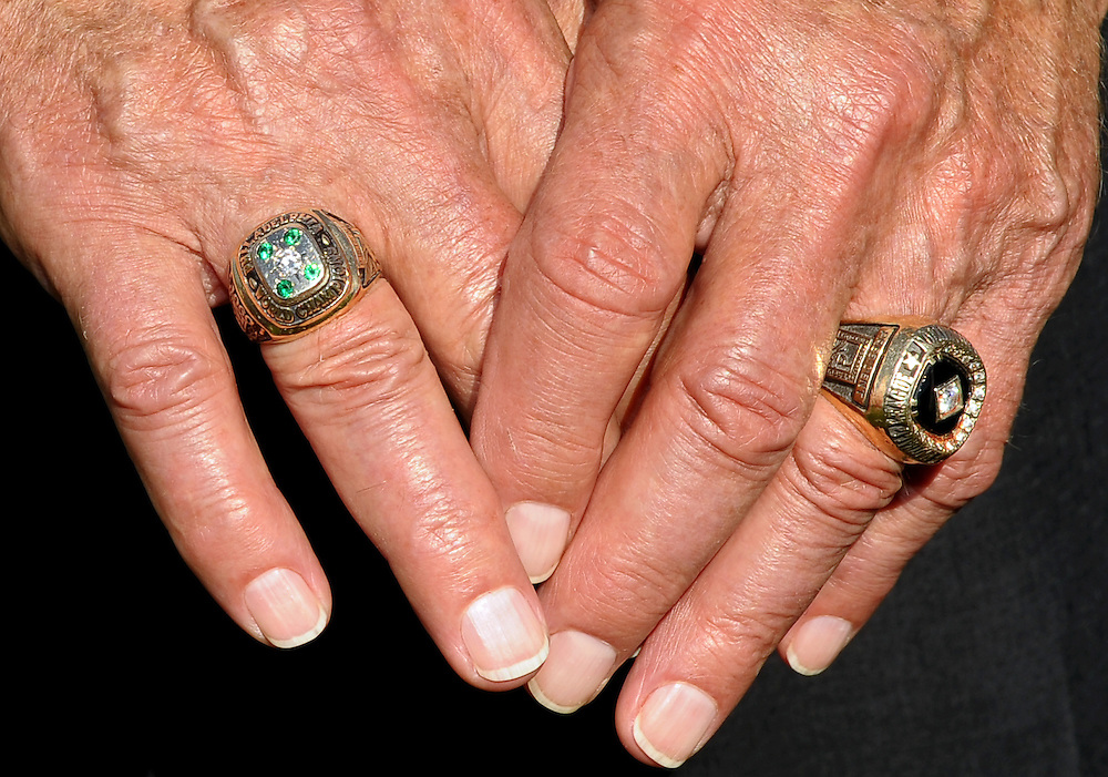 PHILADELPHIA - MAY 19: The hands of Pete Retzlaff  wearing the 1960 Philadelphia Eagles Championship ring (L) on September 11, 2010 at the NovaCare Complex in Philadelphia, Pennsylvania. (Photo by Drew Hallowell)