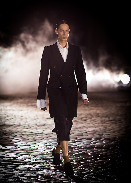 Models walk the catwalk for rehearsal at Alexander McQueen in London for London Mens Collections  on Monday 17th June 2013.