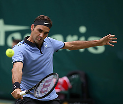 HALLE, June 24, 2017  Roger Federer of Switzerland returns the ball during the men's singles semifinal match against Karen Khachanov of Russia in the Gerry Weber Open 2017 in Halle, Germany, on June 24, 2017. (Credit Image: © Joachim Bywaletz/Xinhua via ZUMA Wire)