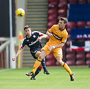 Dundee's Cammy Kerr and Motherwell's Craig Clay - Motherwell v Dundee in the Ladbrokes Scottish Premiership at Fir Park, Motherwell. Photo: David Young<br /> <br />  - © David Young - www.davidyoungphoto.co.uk - email: davidyoungphoto@gmail.com
