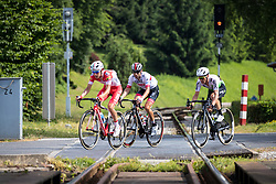 Matteo Busato (ITA) of Androni Giocattoli - Sidermec, Diego Ulissi (ITA) of UAE Team Emirates and Enrico Gasparotto (ITA) of Team Dimension Data during 1st Stage of 26th Tour of Slovenia 2019 cycling race between Ljubljana and Rogaska Slatina (171 km), on June 19, 2019 in  Slovenia. Photo by Matic Klansek Velej / Sportida