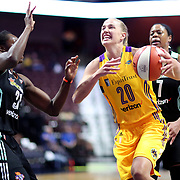 UNCASVILLE, CONNECTICUT- May 2:  Mikaela Ruef #20 of the Los Angeles Sparks defended by Tina Charles #31 of the New York Liberty during the Los Angeles Sparks Vs New York Liberty, WNBA pre season game at Mohegan Sun Arena on May 2, 2017 in Uncasville, Connecticut. (Photo by Tim Clayton/Corbis via Getty Images)