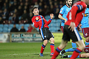 Ollie Rathbone reacts to a save by the keeper during the EFL Sky Bet League 1 match between Scunthorpe United and Rochdale at Glanford Park, Scunthorpe, England on 14 March 2017. Photo by Daniel Youngs.