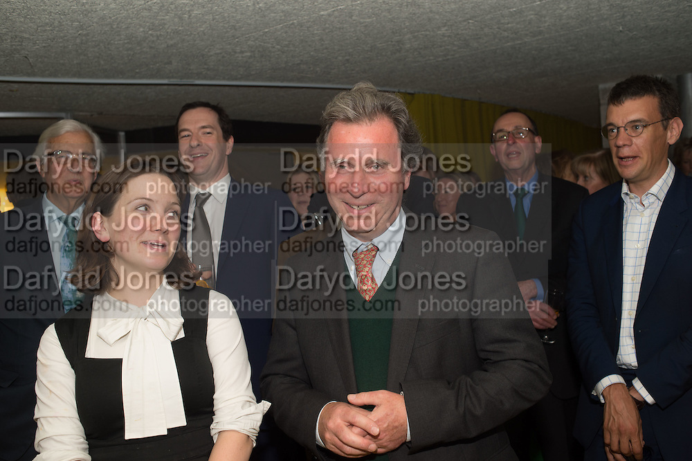 LORD KENNETH BAKER; GEOFFREY OSBORNE; ( BEHIND ) OLIVER LETWIN ON HIS BIRTHDAY, Launch of ' More Human',  Designing a World Where People Come First' by Steve Hilton. Party held at Second Home in Princelet St, off Brick Lane, London. 19 May 2015.