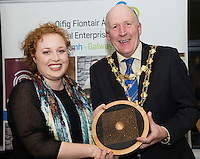 Repro FREE:    Niamh Daniels, Niamh Daniels, Runner Up Best Startup Business Galway, IBYE 2016 presented by  Cllr Noel Larkin Mayor of Galway City awarded by Local Enterprise Office Galway at the Portershed. <br /> Photo:Andrew Downes, xposure