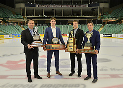 2015-16 CHL Award Winners Gilles Bouchard,  Pierre-Luc Dubois, Alexis D'Aoust and Samuel Girard at the ENMAX Centrium in Red Deer, Alberta on Saturday May 28, 2016. Photo by Terry Wilson / CHL Images.