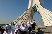 Azadi Tower (Borj-e Azadi). The inverted-Y-shaped Azadi Tower, built in 1971 to commemorate the 2500th anniversary of the first Persian empire, is one of Tehran's visual icons. Designed by Hossein Amanat, it ingeniously combines modern architecture with traditional Iranian influences, most notably the iwan-style of the arch, which is clad in 8000 pieces of white marble.