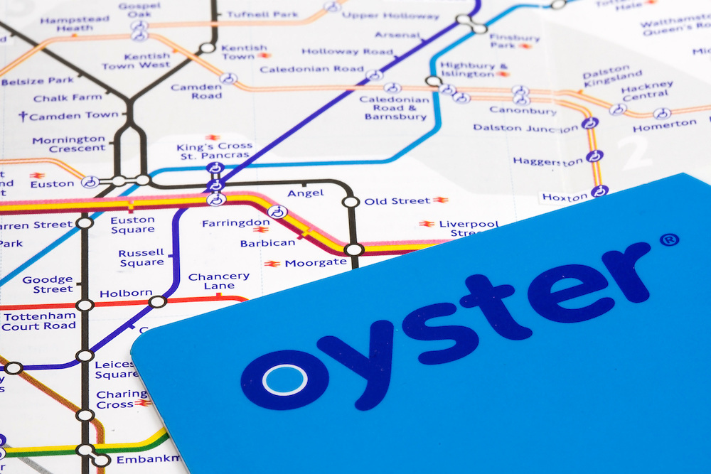 The Oyster card is a credit card sized electronic payment system used on public transport throughout the city of London. The London tube map represents the lines and stations of the London underground system.
