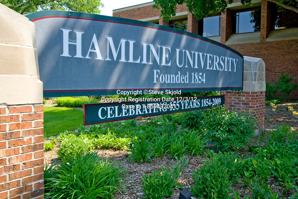 Gateway sign at Hamline University founded in 1854. St Paul Minnesota MN USA