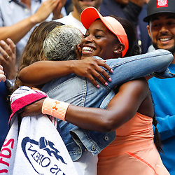 Sloane Stephens of United States celebrate his victory with her mother Sybil Smith during the Women's Single finals match on Day Thirteen of the Us Open 2017 at USTA Billie Jean King National Tennis Center on September 8, 2017 in New York City. (Photo by Marek Janikowski/Icon Sport)