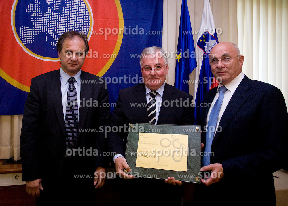 President of NZS Ivan Simic (L), Michael van Praag of Nederlands football federation (R) and Rudi Zavrl (in the middle) awarded by Slovenian football federation (NZS) when he became a Honorable president of NZS, on May 7, 2009, in Hotel Kokra, Brdo at Kranj, Slovenia.  (Photo by Vid Ponikvar / Sportida)