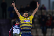 Hampshire T20 all rounder Shahid Afridi celebrates  during the NatWest T20 Blast South Group match between Hampshire County Cricket Club and Kent County Cricket Club at the Ageas Bowl, Southampton, United Kingdom on 2 June 2016. Photo by David Vokes.