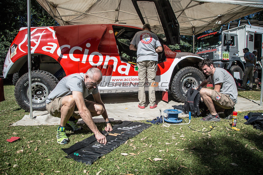 Acciona 100x100 ecopowered,electric car, in Buenos Aires, Argentina, two days before the start of the race, thecnical inspections.