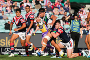 Isaiah Papali'i looks to break the defence close to the line. Sydney Roosters v Vodafone Warriors. NRL Rugby League. Sydney Cricket Ground, Sydney, Australia. 18th August 2019. Copyright Photo: David Neilson / www.photosport.nz
