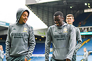 Leeds United forward Helder Costa (17) and Leeds United forward Eddie Nketiah (14) arrive at the ground during the EFL Sky Bet Championship match between Leeds United and Brentford at Elland Road, Leeds, England on 21 August 2019.