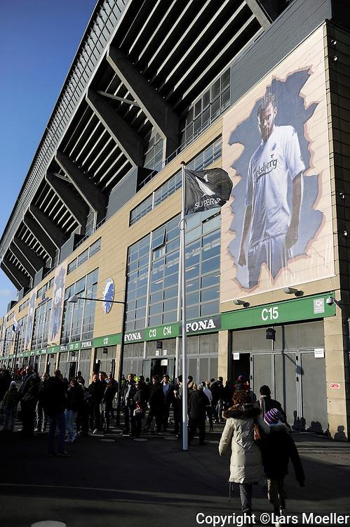 København, Denmark, 20110320, Superleague,  FC København - Brøndby IF:.Parken Stadium decorated with posters af the players..Photo: Lars Moeller