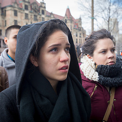 FRIDAY, MARCH 26, 2015 - St. Louis University student Amelia Ramirez-Romo joined other supporters of 43 students who disappeared in September 2014 from the Raúl Isidro Burgos Rural Teachers' College of Ayotzinapa in Iguala, Guerrero, Mexico, as they marched Friday through downtown St. Louis. Some in the group are making their way across the United States to spread their message that the Mexican government is ignoring their demands for justice, transparency and accountability. ©Photo by Jerry Naunheim Jr.