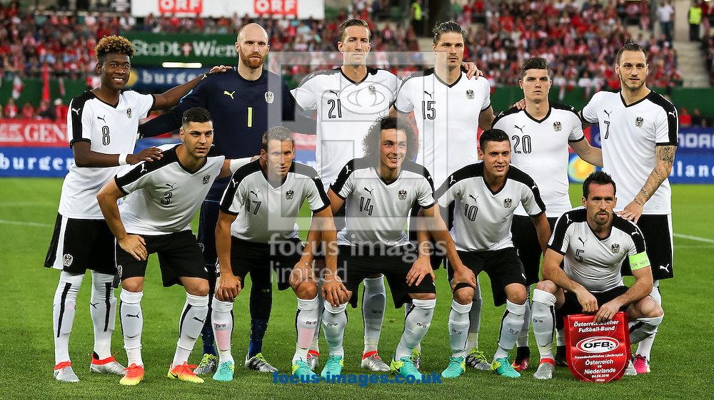 David Alaba, Aleksandar Dragovic, Robert Almer, Florian Klein, Marc Janko, Julian Baumgartlinger, Sebastian Proedl, Zlatko Junuzovic, Marcel Sabitzer, Christian Fuchs, Marko Arnautovic  of Austria during the International Friendly match at the Ernst Happel Stadium, Vienna<br /> Picture by EXPA Pictures/Focus Images Ltd 07814482222<br /> 04/06/2016<br /> ***UK &amp; IRELAND ONLY***<br /> EXPA-AFO-160604-5010.jpg
