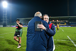 Chairman Chris Booy and Bristol Rugby Head Coach Mark Tainton celebrate after Bristol Rugby win the game 18-28 - Rogan Thomson/JMP - 16/12/2016 - RUGBY UNION - Stade du Hameau - Pau, France - Pau v Bristol Rugby - EPCR Challenge Cup.