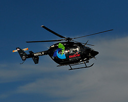Medical helicopter departs for Lehigh Valley Hospital in Allentown with injured driver Justin Wilson. Sage Karam injured in a crash on August 23rd, 2015, at Pocono Raceway in Long Pond.