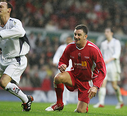 LIVERPOOL, ENGLAND - SUNDAY MARCH 27th 2005: Liverpool Legends' John Aldridge rues a missed chance against the Celebrity XI during the Tsunami Soccer Aid match at Anfield. (Pic by David Rawcliffe/Propaganda)