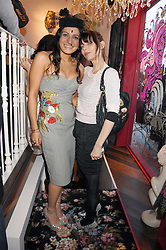 Left to right, party host GEORGINA HAMED and JEMIMA FRENCH at the launch party for the shop 'Lost in Beauty' 117 Regents Park Road, London NW1 on 22nd April 2008.<br />