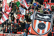 Sunderland fans encourage  their team on  during the EFL Sky Bet League 1 match between Sunderland and Portsmouth at the Stadium Of Light, Sunderland, England on 27 April 2019.
