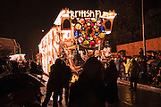 The Gargoyles entry by British Flag CC, in the heavy rain during Bridgwater Guy Fawkes Carnival 2010.
