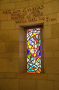 Israel, Nazareth, Basilica of the Annunciation, Stained glass window in the lower level