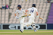 Adam Lyth of Yorkshire and Alex Lees of Yorkshire  running between the wickets during the Specsavers County Champ Div 1 match between Hampshire County Cricket Club and Yorkshire County Cricket Club at the Ageas Bowl, Southampton, United Kingdom on 1 September 2016. Photo by Graham Hunt.
