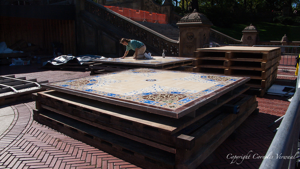 Installation of the restored Minton Tiles at Bethesda Arcade in Central Park, New York City