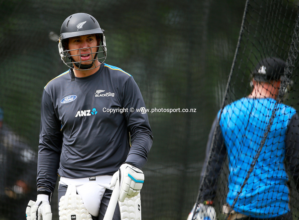 Ross Taylor during a Black Caps nets session at Hagley Oval, Christchurch. 24 December 2014 Photo: Joseph Johnson / www.photosport.co.nz