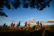 CAPE TOWN, SOUTH AFRICA - OCTOBER 08: athletes walk into a bright sunrise during the ASA 50km and Interprovincial Race Walking Championships at Youngsfield Military base on October 08, 2016 in Cape Town, South Africa. (Photo by Roger Sedres/Gallo Images)