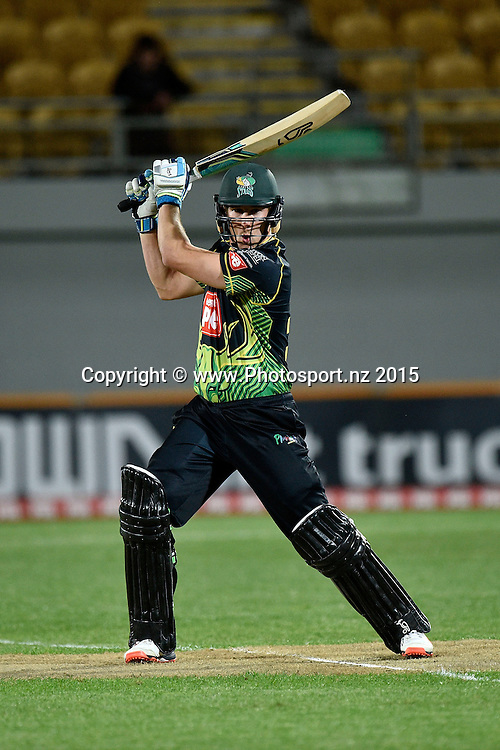 George Worker of the Stags bats during the Georgie Pie Super Smash T20 cricket match - Central v Auckland on Wednesday, 11 November 2015 at Yarrow Stadium, New Plymouth. Copyright Photo: Marty Melville  / www.photosport.nz