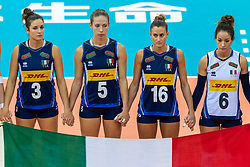 16-10-2018 JPN: World Championship Volleyball Women day 17, Nagoya<br /> Italy - Serbia / Carlotta Cambi #3 of Italy, Ofelia Malinov #5 of Italy, Lucia Bosetti #16 of Italy, Monica De Gennaro #6 of Italy