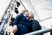 28 Marzo 2015, Roma, Italia. Manifestaione Fiom-Cgil, Unions. Maurizio Landini segretario generale della FIOM-CGIL, bacia Susanna Camusso segretario generale della CGIL.