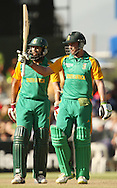 AB de Villiers celebrates his half century during the first Sunfoil ODI between the Proteas and Sri Lanka played at Boland Stadium in Paarl, South Africa on 11 January 2012. Photo by Jacques Rossouw/SPORTZPICS