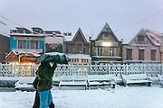 A couple walking walking through the scandal point at Shimla