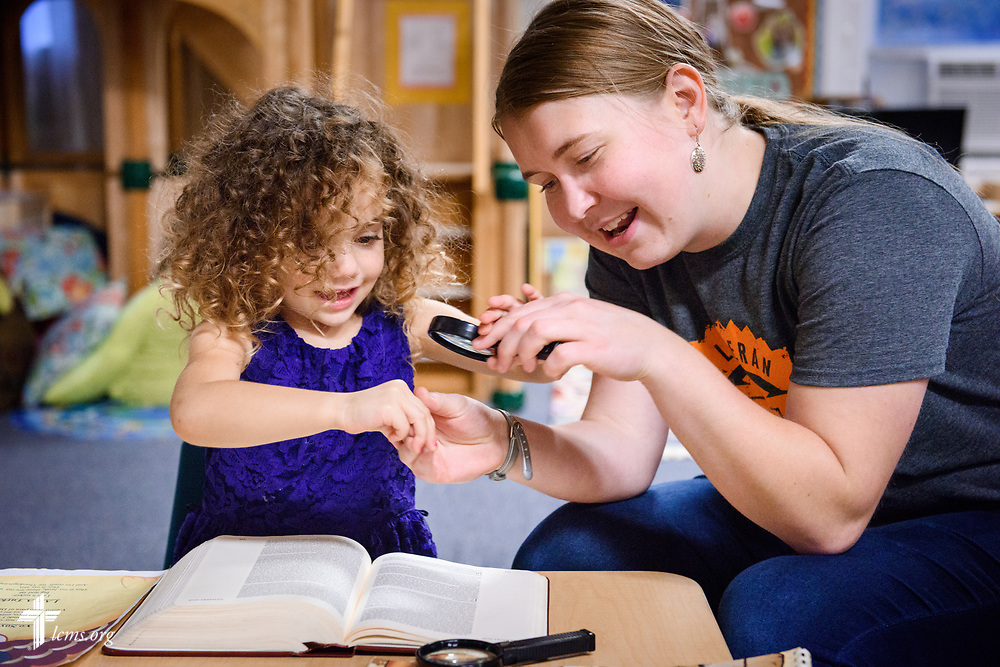 Young Adult Corps participant Coretta Hedstrom plays with a young child at Little Blessings Daycare and Preschool in Trinity Lutheran Church, Boston, on Wednesday, Oct. 25, 2017. LCMS Communications/Erik M. Lunsford