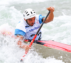 27.06.2015, Verbund Wasserarena, Wien, AUT, ICF, Kanu Wildwasser Weltmeisterschaft 2015, C1 men, im Bild Mattia Quintarelli (ITA) // during the final run in the men's C1 class of the ICF Wildwater Canoeing Sprint World Championships at the Verbund Wasserarena in Wien, Austria on 2015/06/27. EXPA Pictures © 2014, PhotoCredit: EXPA/ Sebastian Pucher