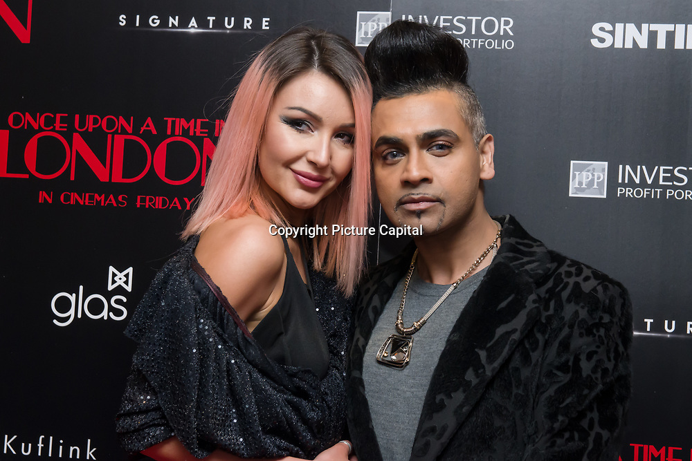 Ami Carmine, Jay Kamiraz Arrivers at Once Upon a Time in London - London premiere of the rise and fall of a nationwide criminal empire that paved the way for notorious London gangsters the Kray Twins and the Richardsons at The Troxy 490 Commercial Road, on 15 April 2019, London, UK.